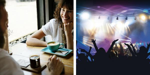 kľudné prostredie v kaviarni vs. hlasná hudba v disko klube